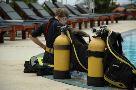 Scuba diving tanks and gear.