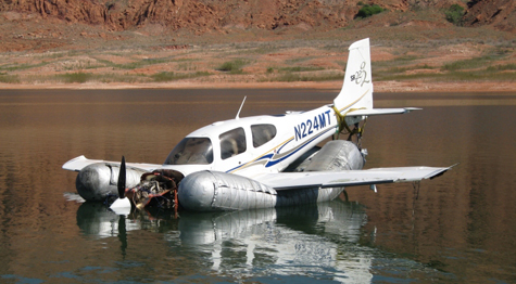 Wrecked aircraft at Lake Powell.